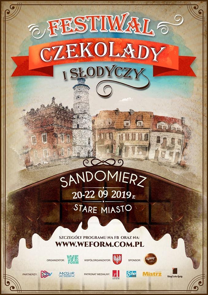 Plakat Festiwalu Czekolady i Słodyczy w Sandomierzu we wrześniu 2019